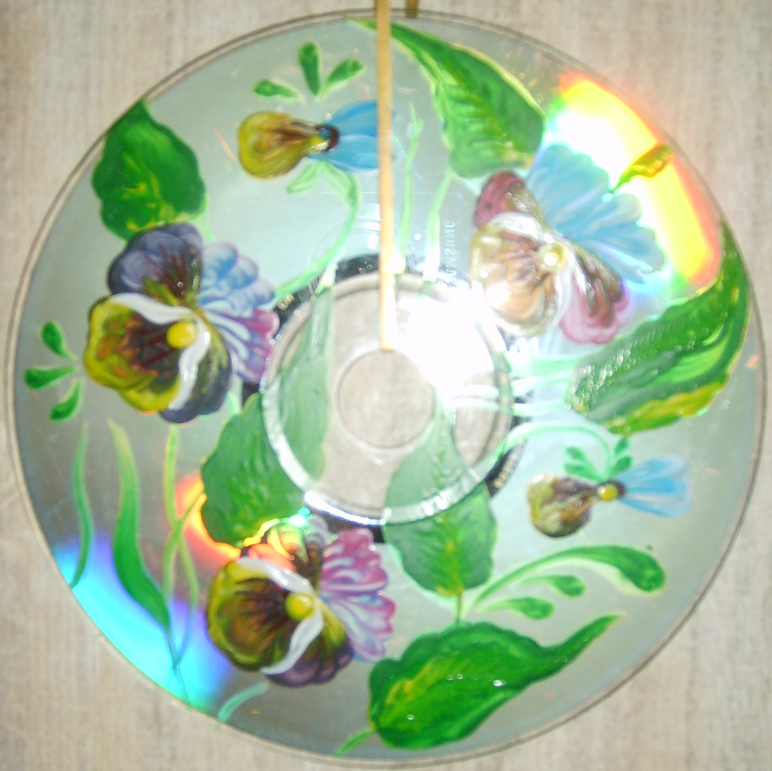 Petrikov painting on CD, acrylic