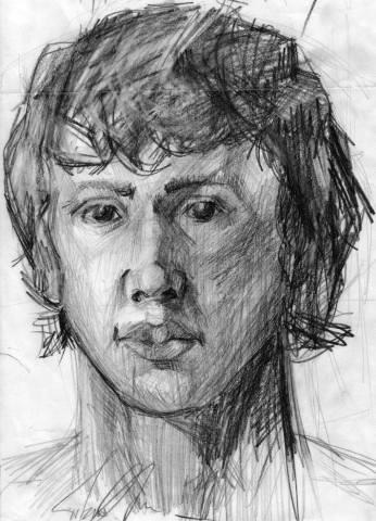 Self-portrait, pencil,